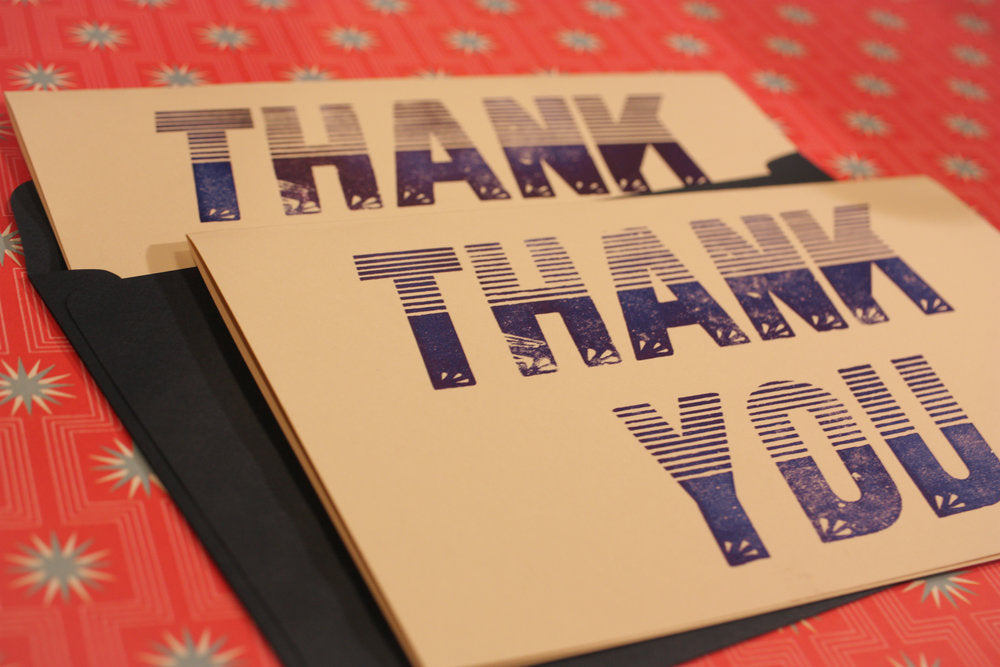 Large Letterpress Thank You Cards w/ envelope
