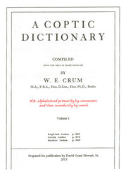 A Coptic Dictionary