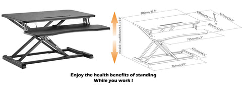 Adjustable Desktop Sit-Stand Workstation DWS28-01N Desk Dimension