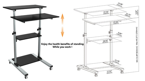 Compact Height-Adjustable Computer Cart WST-01, Cart Dimension