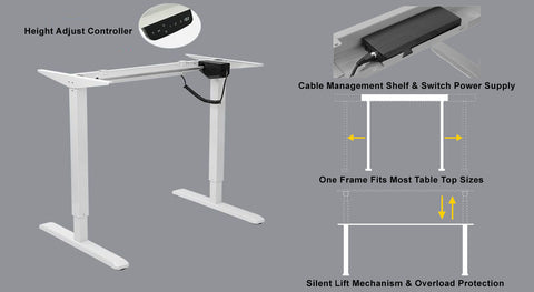 2-Stage Reverse Single Motor Electric Sit-Stand Desk Frame SO2-22R, Height Adjustable Controller