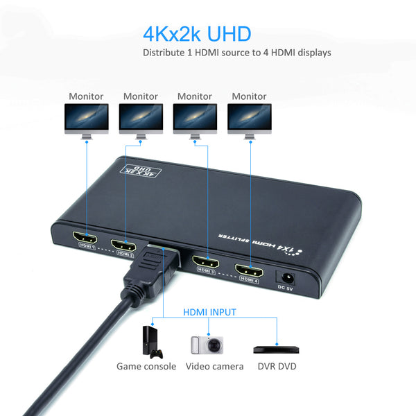 4-Way HDMI Splitter (1-in/4-out) 3D, 4K 60Hz, 4K HDMI