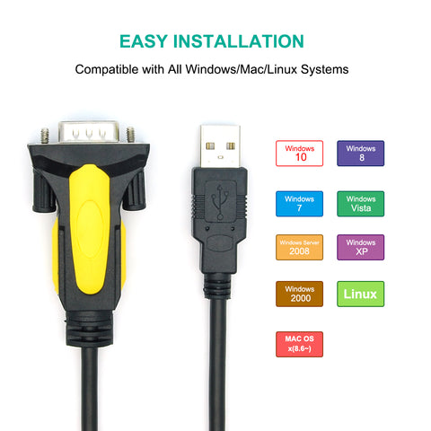USB to RS232 Serial Adapter DB9-Male/ Thumbscrew, Prolific Chipset Application