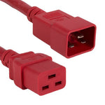 2Ft 12AWG 20A 250V Heavy Duty Power Cord Cable (IEC320 C20 to IEC320 C19) Red