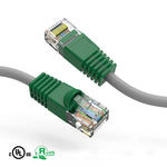 3Ft Cat6 Crossover Ethernet Patch Cable Gray Wire/Green Boot - EAGLEG.COM