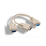 6 inches RS-232 DB9 Female to Male x 2 Splitter Cable - EWAAY.COM
