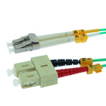 LC/UPC-SC/UPC OM3 Multimode Duplex Aqua 50/125 Fiber Optic Patch Cable - EWAAY.COM