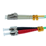 LC/UPC-ST/UPC OM3 Multimode Duplex Aqua 50/125 Fiber Optic Patch Cable - EWAAY.COM