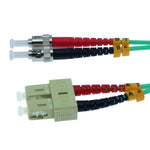 SC/UPC-ST/UPC OM3 Multimode Duplex Aqua 50/125 Fiber Optic Patch Cable - EWAAY.COM