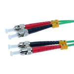 ST/UPC-ST/UPC OM3 Multimode Duplex Aqua 50/125 Fiber Optic Patch Cable - EAGLEG.COM