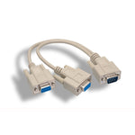 1Ft RS-232 DB9 Male to Female x 2 Splitter Cable - EWAAY.COM