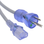 3Ft Hospital Grade Power Cord 5-15P to C13 SJT 16/3 Clear Blue