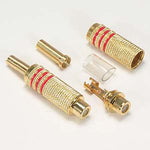 RCA Jack Metal Gold Plated Red Stripe w/Spring - EWAAY.COM