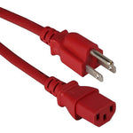2Ft 18AWG Computer Power Cord NEMA 5-15P to IEC-60320-C13 Red - EWAAY.COM