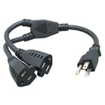 14 Inch 14AWG Power Cord Splitter NEMA 5-15P to NEMA 5-15R X2 - EAGLEG.COM