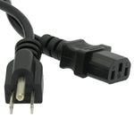 3Ft 18AWG Computer Power Cord NEMA 5-15P to IEC-60320-C13 Black