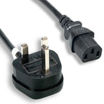 6Ft 18AWG England Power Cord IEC-60320-C13 to BS1363 With Fuse, 13A/250V - EAGLEG.COM