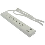 4Ft 6-Outlet Surge Protector 14/3 AWG 300J w/ 2 USB Charging Ports