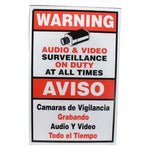 "Surveillance Warning Sign English/Spanish Red 11.5""x18"" - EWAAY.COM"
