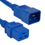 3Ft 12AWG 20A 250V Heavy Duty Power Cord Cable (IEC320 C20 to IEC320 C19) Blue