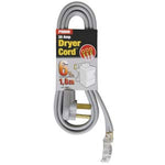 6Ft 10/3 30 Amp Gray 3-Wire Dryer Cord