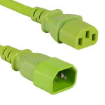 2Ft 18 AWG Computer Power Cord Extension Cable (IEC320 C13 to IEC320 C14) Green