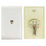 RJ12 Modular Single Port Wall Plate White, Smooth Face - EWAAY.COM
