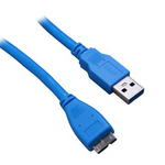 6Ft USB 3.0 Cable A-Male to Micro B-Male Blue