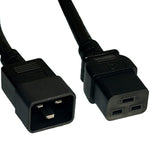 2Ft 12AWG 20A 250V Heavy Duty Power Cord Cable (IEC320 C20 to IEC320 C19)