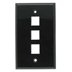 3Port Keystone Wallplate Black Smooth Face - EAGLEG.COM