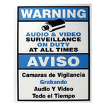 "Surveillance Warning Sign English/Spanish Blue 7""x9"" - EWAAY.COM"