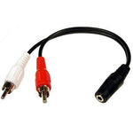 6 inch 3.5mm Stereo Jack to 2xRCA Male Cable - EWAAY.COM