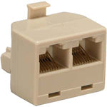RJ45 1 Plug/2 Jack T Adapter, Straight Beige