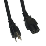 3Ft 14AWG 15A 125V Power Cord Cable (NEMA15P to IEC C15)