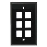 6Port Keystone Wallplate Black Smooth Face - EWAAY.COM