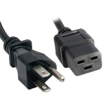 3Ft 14 AWG 15A 125V Power Cord Cable (NEMA 5-15P to IEC320 C19)