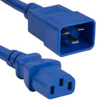 4Ft 14AWG 15A 250V Power Cord (IEC320 C13 to IEC320 C20) Blue