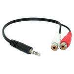 6 inch 3.5mm Stereo Plug to 2xRCA-F Cable - EWAAY.COM