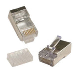 RJ45 Cat.6 Shielded Plug Solid 50 Micron 2 Prong w/Inserter 100pk