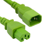 3Ft 14AWG 15A 250V Power Cord Cable (IEC320 C14 to IEC320 C15) Green