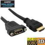 3Ft HDMI Panel Mount Extension Cable with Ethernet - EWAAY.COM