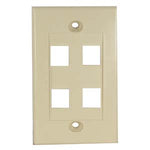 4Port Keystone Wallplate Ivory Decora Type