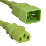 3Ft 14AWG 15A 250V Power Cord (IEC320 C13 to IEC320 C20) Green