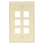 6Port Keystone Wallplate Ivory Smooth Face
