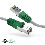 50Ft Cat5e Crossover Cable Shielded Ethernet Network Cable Gray-Green Boot - EWAAY.COM