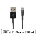 3Ft USB Charge/Sync Lightning Cable Black with MFi Certified