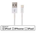 3Ft USB Charge/Sync Lightning Cable White with MFi Certified