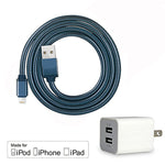 3Ft USB Charge/Sync Lightning Cable w/Dual Port USB Wall Charge MFi Certified - EWAAY.COM
