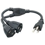 14 Inch 16AWG Power Cord Splitter NEMA 5-15P to NEMA 5-15R X2 - EAGLEG.COM