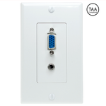 VGA and 3.5mm Stereo Wall Plate White, VGA Wall Plate - EWAAY.COM